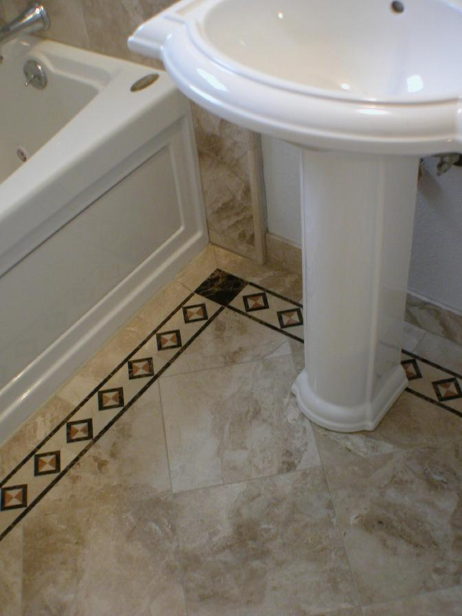 Marble Floor Diagonal Pattern With Mosaic Border