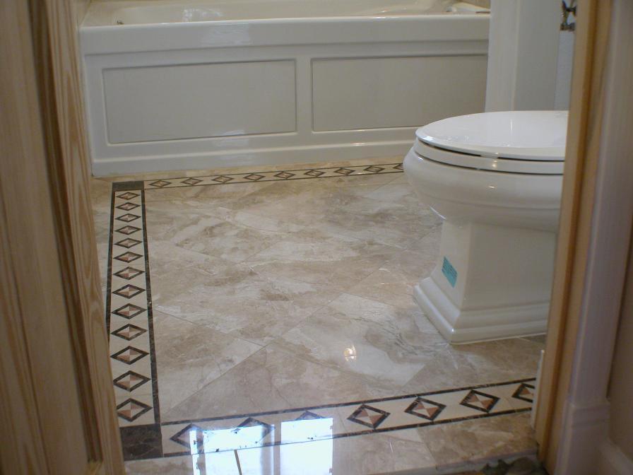 Marble Floor Borders : Marble floor diagonal pattern with mosaic border
